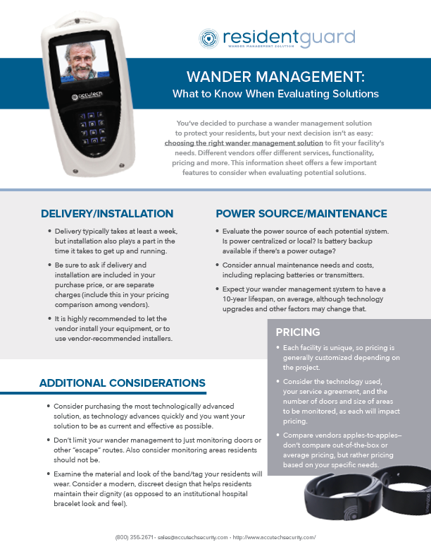 Wander Management - Evaluating Solutions