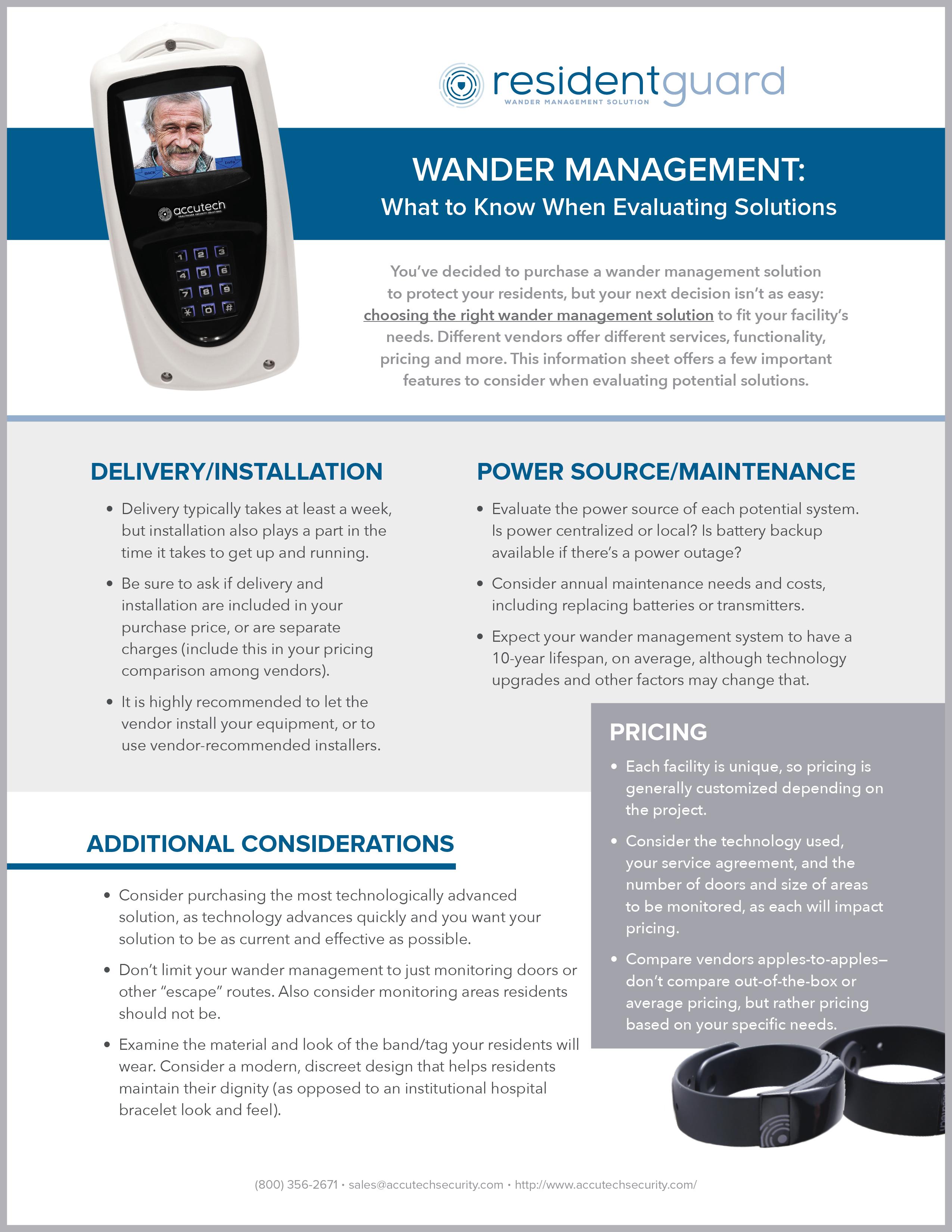 Wander Management Checklist